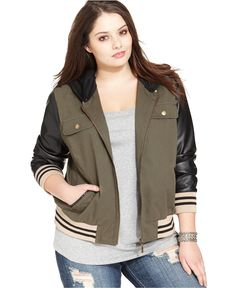Dollhouse Plus Size Faux-Leather-Sleeve Baseball Jacket - Plus Size Jackets & Blazers - Plus Sizes - Macy's