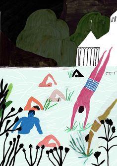 "Nicolas Burrows's illustration for Glacier's ""Swimming Song"""