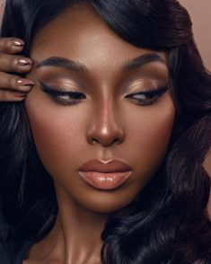 Fall Makeup For Black Women, Makeup For Black Skin, Makeup For Brown Eyes, Black Bridal Makeup, Black Woman Makeup, Beauty Makeup, Hair Makeup, Women's Beauty, Luxury Beauty