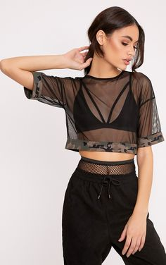Black Mesh Camo Trim Crop T-ShirtWork a cool girl style in this mesh camo trim crop t -shirt, lay. Dance Outfits, Sexy Outfits, Cool Outfits, Fashion Outfits, Sport Fashion, Womens Fashion, Crop Top Outfits, Festival Outfits, Look Cool
