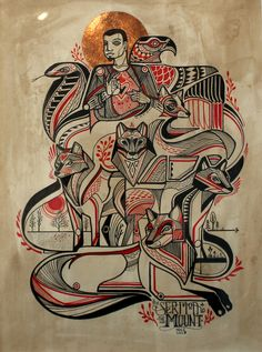 "Image of David Hale - ""Sermon on the Mount"" Ceramic Painting, Painting & Drawing, Rhino Pictures, Character Illustration, Illustration Art, Ganesha Painting, Animal Sketches, Heart Art, Animal Tattoos"