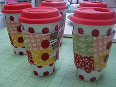 """""""Cup Cozies"""" Tutorial... FANTABULOUS!  Gotta go to Starbucks and get me a coffee so I can make one tonight! Use the cardboard cup sleeve as my template."""