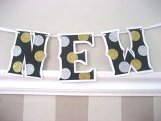 HAPPY NEW YEAR Banner  Black with Gold and Silver by Devany, $30.00