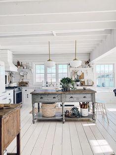 Our Open Concept Ceilings FAQ's - Farmhouse kitchen decor - Farm Kitchen Ideas, Farmhouse Kitchen Island, Fresh Farmhouse, Modern Farmhouse, Kitchen Islands, Farmhouse Kitchen Interior, White Farmhouse Kitchens, Cottage Farmhouse, Farmhouse Homes