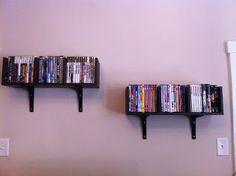 DVD shelves -- IKEA hack.