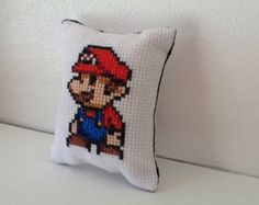Mario and Peach Cross Stitch Mini Cushion (PDF Pattern)