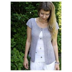 Lavender Cardi: A summer cardigan knit in the round from top-down with 2 versions of short sleeves to choose. One pattern with sleeves kept plain and simple (for beginners) and one with subtle button-details.