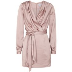 Finders Keepers Aspects Mink Satin Mini Dress - Size XS ($195) ❤ liked on Polyvore featuring dresses, tie waist dress, finders keepers dress, pink satin dress, satin dress and wrap around dress