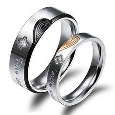Personalized Titanium Hearts Wedding Rings Set for 2