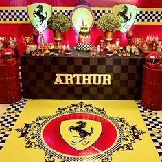 Race Car Birthday, Race Car Party, Birthday Bash, Car Themed Parties, Cars Birthday Parties, Birthday Party Decorations, Ferrari Cake, Ferrari Party, Adult Party Themes