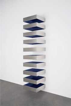 The top lot was Donald Judd's Untitled (77/23-Bernstein), 1977, pictured above, which is a 10-stack stainless steel and blue Plexiglas work. Description from artobserved.com. I searched for this on bing.com/images