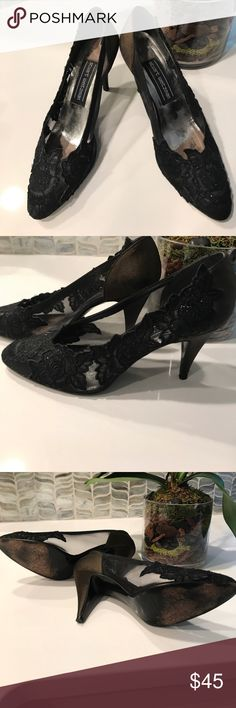 """Stuart Weitzman black satin and lace pumps Timeless black pumps with satin back and heel in an iridescent black color. Mesh and floral appliqué are black. Beautiful, barely worn. 3"""" heel. Stuart Weitzman Shoes Heels"""
