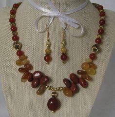 Amber Jasper Cluster Necklace Set. Brown Necklace. by uniquebysuzy