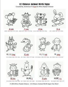 The 12 Chinese Animal Birth Signs Printable | Miss Panda Chinese