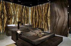 Haute Nature Lifestyle designed by Alessandro la Spada for Antolini. Decor, Interior, Stone Cladding, Royal Design, Natural Stone Cladding, Modern Bedroom, Onyx Table, Interior Design, Natural Stones