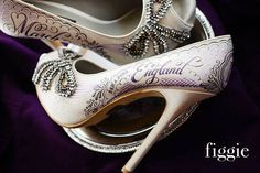 Handpainted Wedding Shoes by Figgie, featured on TheCrimsonBride.com // www.figgieshoes.com