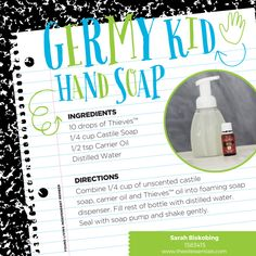 Hand washing is the best way to stop the spread of germs. Make your own powerful hand soap with Thieves essential oil!