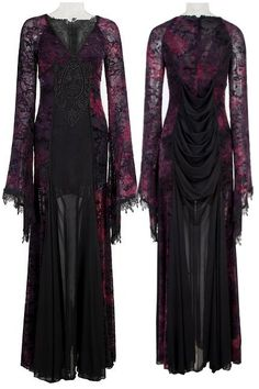 Opium Black Purple Gothic Dress by Punk Rave