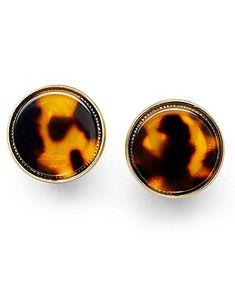 Lauren Ralph Lauren Earrings, Gold-Tone Tortoise Resin Button Earrings - Fashion Earrings - Jewelry & Watches - Macy's