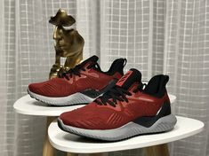 07fb47979e9 Adidas Alphabounce Mystery Ruby Bw1204 Core Black Red Grey Four 2018  Original Shoe Popular Sneakers