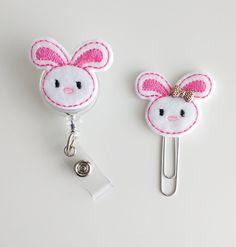 White Bunny Felt Paperclip | Badge Reel | ID Badge | Felt Holder | Lanyard | Planner Clip | Planner Accessories | Easter Felties | Rabbit