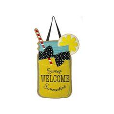 "Sweet Summertime Burlap Door Hanger from Just for Fun Flags. This adorable lemonade filled mason jar is perfect on a hot summers day. Sweet Summer Burlap Door Hanger by EveArt from Evergreens New ""Warm Welcome Door Decor"" Collection . Burlap Crafts, Wood Crafts, Summer Door Decorations, Burlap Door Hangers, Metal Hangers, Home Decor Hacks, Wood Cutouts, Front Door Decor, Front Doors"