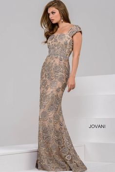 52e42761 Silver and Nude Polyester floral Print evening dress with straight back and  cap sleeves and invisible. jovani.com