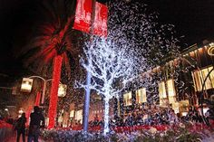 Performances and nearly 150,000 lights made up the annual Beverly Hills holiday lighting ceremony on November 23. The event included the illumination of 16 Baccarat chandeliers along Rodeo Drive, followed by a fireworks finale above the famed shopping street.  Photo: Courtesy of Rodeo Drive Committee