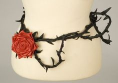 """""""Red Rose Leather Belt."""" This versatile belt can also be worn as a necklace or harness. Check out the photos on the listing for the black version for examples."""