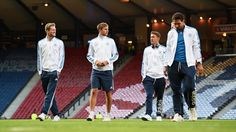 André Schürrle (L) and Mats Hummels (R) of Germany prior to their UEFA EURO 2016 qualifier against Scotland