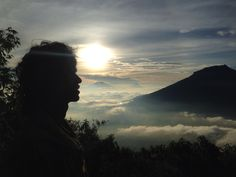 Silhouette from Mt. Sindoro with Mt. Sumbing view