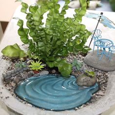 Papercrete for Fairy Gardens could color glue blue to make water