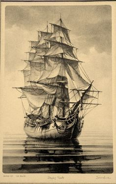 """With more colourful """"horizon"""" colours behind. - With more colourful """"horizon"""" colours behind… - Pirate Ship Tattoos, Illustration Tattoo, Boat Drawing, Pirate Ship Drawing, Old Sailing Ships, Pirate Art, Pirate Ships, Ship Paintings, Ghost Ship"""