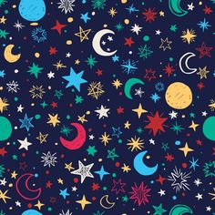 Colorful background of moons and stars Free Vector Gold Glitter Background, Dark Blue Background, Geometric Background, Cool Wallpaper, Iphone Wallpaper, Music Notes Art, Neon Backgrounds, Abstract Paper, Free Art Prints