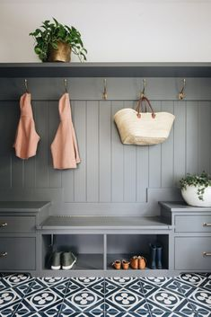 Mudroom Laundry Room, Stoff Design, Hallway Storage, Mudroom Shelf, Mudroom Cabinets, Wall Storage, Kitchen Cabinets, Foyer Decorating, Decorative Tile