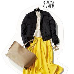 チアフルカラーで元気よく♡ 冬ブルゾンは、スカートで見違え♪-@BAILA ワタシを惹きつける。モノがうごく。リアルにひびく。BAILA公式サイト|HAPPY PLUS(ハピプラ)集英社