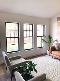 A full tutorial on how to paint your interior and exterior windows black and how to cover and/or create window panes on your windows. Black Window Trims, Black Windows, Modern Windows, Painted Window Panes, Window Frames, Window Paint, Interior Window Trim, Black Trim Interior, Vintage Doors