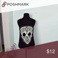 Super Cute Skull Embroidered Tank Top In excellent condition. The back is plain black. Tops Blouses