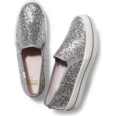 KEDS X kate spade new york CHAMPION TRIPLE DECKER GLITTER ($95) ❤ liked on Polyvore featuring shoes, sneakers, flats, tenis, silver glitter, slip-on shoes, keds shoes, silver sneakers, glitter flats and keds sneakers