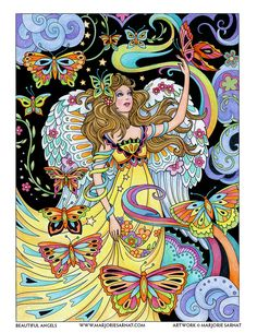 """Angel with Butterflies – from my coloring book, """"Beautiful Angels,"""" due to be released in early 2018."""