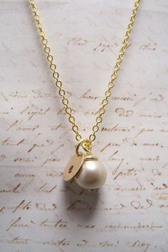 Pearl and Initial Necklace... Bride... Bridesmaid... Minimalist... custom personalized on Etsy, $12.00