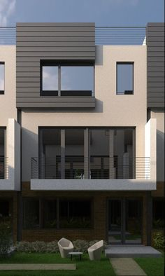 The 17 three-story townhouses, will be offered individually for sale. Architecture Design, Facade Design, Exterior Design, Modern Townhouse, Townhouse Designs, House Front Design, Modern House Design, Duplex House, Modern House Plans