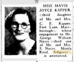 1941 Miss Mavis Joyce Kapper engaged to Mr George William Noyes Mavis, Engagements, Engagement