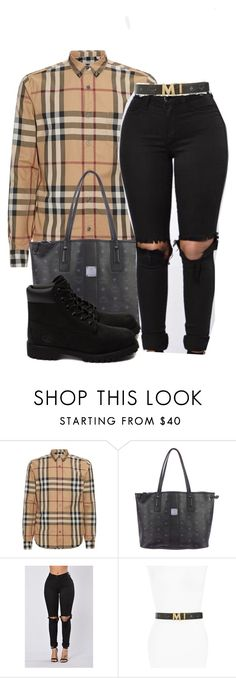 """Burberry"" by alexanderbianca ❤ liked on Polyvore featuring Burberry, MCM and Timberland"