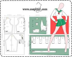 70 Ideas Sewing Patterns Cosplay Tips For 2019 Doll Dress Patterns, Barbie Patterns, Costume Patterns, Sewing Patterns Free, Clothing Patterns, Cosplay Tutorial, Cosplay Diy, Cosplay Outfits, Anime Outfits