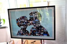 Our wedding collage. . Instead of a guest book.  It came out awesome!