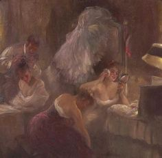 Gaston de LaTouche (1854-1913) French Impressionist: Une Loge au Moulin Rouge