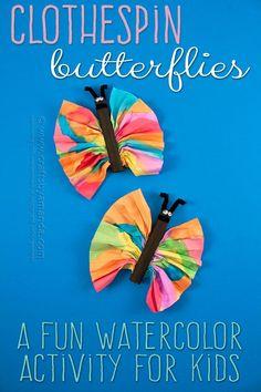 Preschool Butterfly Craft: Watercolors and Clothespins – Amanda Formaro, Crafts by Amanda - Preschool Children Activities Summer Crafts, Fun Crafts, Diy And Crafts, Crafts For Kids, Nature Crafts, Kids Diy, Decor Crafts, Adult Crafts, Toddler Crafts