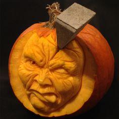 Splitting Headache is a 3D Pumpkin Carving by Theressa Wright