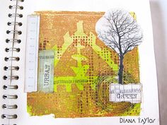Sketchbook page by Velvet Moth Studio.  The stencil is taken from an image of a Sumerian pictogram on a clay tablet dating back to 3000BC.  It's an extremely early representation of a garden with a tree planted in the middle of a triangular enclosure.